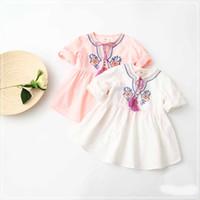 al por mayor cabritos de la muchacha dulce vestido de los niños-Vestido de algodón del bordado de las muchachas de los niños dulces Vestidos blancos y rosados del color de los niños lindos que arropan al por mayor