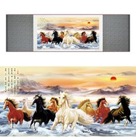 Wholesale top quality Chinese Horse silk painting Horse art painting Silk scroll art painting eight horse painting