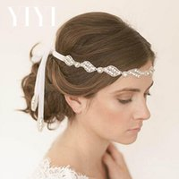 Wholesale European and American luxury diamond pearl bride hair ribbon forehead decorated headdress