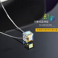 aurora crystal bracelet - S925 Sterling Silver Chain Aberdeen box stunning shine colorful cube sugar crystal pendant chain clavicle Aurora Austria