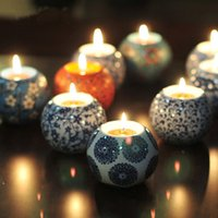 Wholesale 6pcs European Style Ceramic Candle Holders with candles wedding candlestick tea light holder home decor wedding supplies