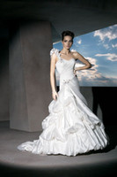 Cheap A-Line Bridal Gown One-Shoulder With Sweetheart Neckline Beads Satin Draped Demetrios 212 Wedding Dresses