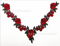 Wholesale Red Rose Flower Lace Floral Collar Neckline Venise Applique Embroidery Sewing on Patches Scrapbooking Embossed