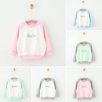 Wholesale 2016 INS infant baby clothes sets Children s clothing Girls Winter lamb wool sweater color smile shirts