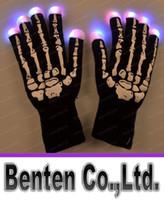 Wholesale Halloween christmas Skull gloves hot selling LED flash gloves Dancing glow LED gloves Concert noctilucent gloves Flash gifts Free DHL LLFA