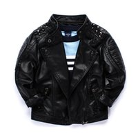 Wholesale Cool boys kids coat Quality locomotive PU leather jacket Rivets big collar handsome children Autumn winter jackets outwear