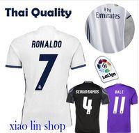 badge shirt - 2016 Real Madrid jersey men s football shirt ucl badges player version slim fit ronaldo isco james sergio ramo free shippi