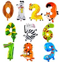 Wholesale 1 Piece inch Animal Number Foil Inflatable Balloon Wedding Happy Birthday Party Decoration Air Balloon Cute Baby Kid Toy