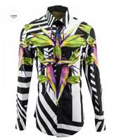 Wholesale spring men s Designer Brand long sleeve shirts mens printed stripe brid shirt man slim fit plus size M XL clothing