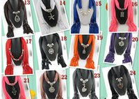Wholesale Designs Mix Alloy Cross Pendant Scarf Jewelry Beads Scarves Necklace Scarfs with Animal Heart Flower Pendants Mix Sale