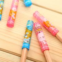 Wholesale Cute Kawaii Deli Pencil Cap Topper Office School Supplies Stationery Blue Pink