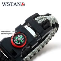 Wholesale WSTANG Survival knife outdoor gear multifunctional hit color bracelet flint blade paracord rope whistle compass catches new