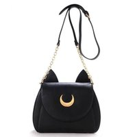 Wholesale 2016 New Summer Limited Sailor Moon Chain Shoulder Bag Ladies Luna Cat PU Leather Handbag Women Messenger Crossbody Small Bag