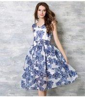 al por mayor amarillo vestidos estampados blancos-2016 noticias verano algodón impresión vestidos de estilo estilo de la calle de tamaño grande de la ropa de las mujeres vestido de impresión de color blanco y amarillo libre de envío