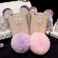 ball phone - iPhone Soft TPU Mirror case for iphone s plus cell phone Back Cover With furry Ball and Bling Mickey Mouse Rhinstone
