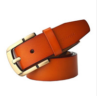 best quality jeans for men - brand luxury Cowskin genuine leather belt for men Vintage Drawing Copper Pin Buckle jeans belts best quality Four colors