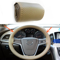 Wholesale 1pcs Car Truck Leather Steering Wheel Cover With Needles and beige Thread DIY