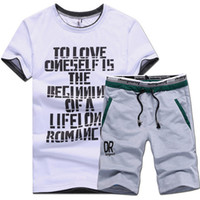 Wholesale T Shirts Shorts Summer Brand Tshirt Men Letter Printed Basketball Running Sports Set M XL t shirt suit male