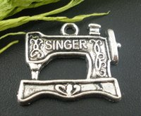 antique singer machines - Zinc metal alloy Charm Pendants Sewing Machine Antique Silver Message Pattern quot SINGER quot mm x mm new