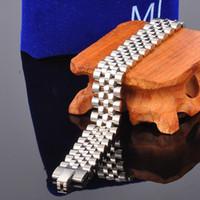 Alta pulido hombres de la marca de acero inoxidable cadena de pulsera de plata de oro reloj correa banda brazalete pulseras joyería