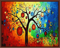 acrylic paint on walls - Frameless picture on wall acrylic painting by numbers drawing by numbers unique gift coloring by numbers Good luck tree G345