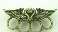 Wholesale 2016 Classic style QTY GILDED THICK STEEL BRASS KNUCKLE DUSTERS owl survival self defense safety Eagle Ring Gold copper Color
