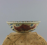 antique fish bowl - All hand sketch painting porcelain glaze red fish bowls The ancient porcelain collecting antiques