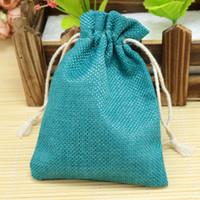 Wholesale 10pcs cm Lake Blue Jute Bag burlap Drawstring Bags Candy Gift Beads Jewelry Bags For Storage Wedding Decoration