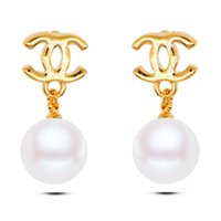 Wholesale Europe and America hot style is contracted and generous luxury brand bowknot pearl stud earrings real gold plated jewelry price