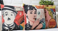 audrey hepburn paintings - Charles Chaplin Marilyn Monroe Audrey Hepburn Modern POP ART Pillow Decorative Pillows Euro Case Arts Popular Painting Gift