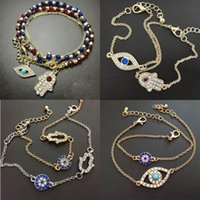 Wholesale New Arrvil Styles Fatima Bracelets Bangles Rhinestone Crystal Evil Eye Bracelet Beaded Charm Fatima Hamsa Bracelet For Women Jewelry RW715