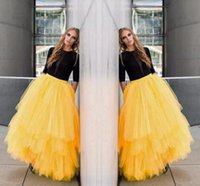 achat en gros de longues robes de bal jaune-New Fashion Yellow Maxi Adulte Long Jupes Tutu Tulle Tiered Layers Buste Jupes pour Femmes Stylish Long Party Homecoming Dresses