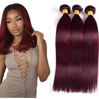 Wholesale 8A Grade Brazilian Burgundy Hair J Brazilian Virgin Hair Straight Weave Bundles Brazilian Burgundy Wine Red Human Hair Extensions