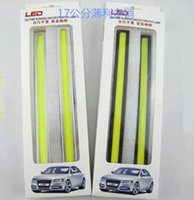 Wholesale 17cm V Ultra thin COB Chip LED Car Auto DRL Daytime Driving Running Fog Light Lamp Color white ice blue blue