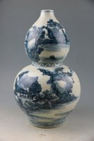 ancient ceramic art - Qing yongzheng blue and white scenery figure big gourd bottle The ancient porcelain and old goods Chinese art collection