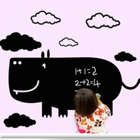 Wholesale DIY Carton Black Cow Blackboard Wall Stickers Removable Wall Decals Unique Gift For Kids Room Mural Decal Nursery