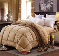achat en gros de reine laine taille couverture-Max 4.7kg hiver chameau cheveux / literie de laine luxe épaissir couture édredon / couette / couverture king queen twin size livraison rapide rapide