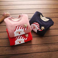Wholesale Cartoon T shirt Santa Claus Embroidery tops for girls kids children for Christmas gift colors winnter new arrival