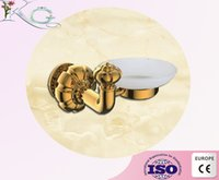Wholesale golden plated Brass soap dish wall mounted soap holder bathroom accessories sanitary holder soap dishes with soap cup