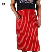 Wholesale 100pcs New Delicate Kitchen Restaurant Cooking Apron Stripe Half For Chef Waiter Kitchen Cook ZA0413