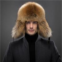 big red fox - winter fox fur bomber hat fashion style silver fox fur to keep warm men lei feng s hat WWS big yards fur ushanka hat