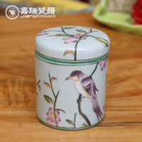 airtight canisters - Retro hand painted Small Tea Canister ceramic Airtight Tea Caddy Storage jar home ornaments