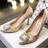 bead leather shoes - Popular wedding Bridal Crystal beads High Heels Women Shoes Crystal Glitter Diamond Rhinestone High Heel Wedding Party Dress shoes