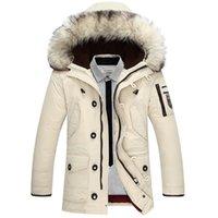 australian breast collar - New Arrival Men s Duck Down Jacket Mens Brand Thicken Jacket Winter Coat Australian wool Fur collar Hooded degree Wear Y131