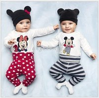 Wholesale Toddler Baby Clothing Mickey Minnie NewBorn Infants Rompers Jumpsuit New Baby Boys Girls Long Sleeve Cartoon Romper Hat Pants Set
