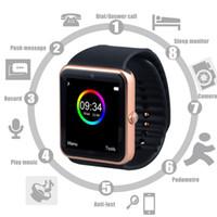 Montre de fitness de santé à puce Prix-GT08 Bluetooth Smart Watch avec fente pour carte SIM et NFC Health Watchs pour Android Samsung et IOS Apple iphone Smartphone Bracelet Smartwatch