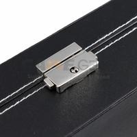 Wholesale 24 Slot Watch Box Leather Display Case Organizer Top Glass Jewelry Storage Black