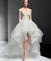 Wholesale YL560 High Low Country Style Wedding Dresses backless flower Ruffles Organza Asymmetrical Fitted Hi Lo Bridal Gowns Cheap