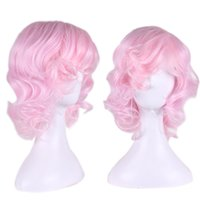 anime cosplay pink wig - water curly pink wig cosplay anime cosplay costume wig heat resistant synthetic wigs lolita cheap wigs for women oblique bangs