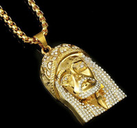Wholesale men hip hop jewelry long necklace k real gold filled plated jesus full crystal necklace with gold chain for